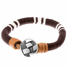 'Parksville' Brown & White Cord & Leather Surf Look Men's Bracelet by Urban Male