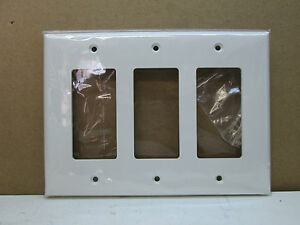 (10-Pack) Three-3-Gang MID-SIZE Decorator GFCI Light Switch Wall Plate - White