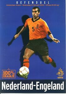 HOLLAND v England (Friendly International in Amsterdam) 2002 Official programme