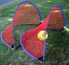 USA~ SET GOAL 4 foot KIDS PORTABLE SOCCER POP UP RED NET OUTDOOR/INDOOR GOALS