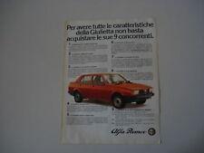 advertising Pubblicità 1980 ALFA ROMEO GIULIETTA 1.6