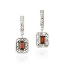 925 Silver Garnet & Diamond Accent Rectangular Dangle Earrings