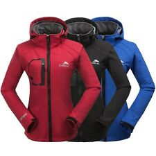 New Womens Soft Shell Outdoor jacket Waterproof Hooded Camping Hiking Golf Coats