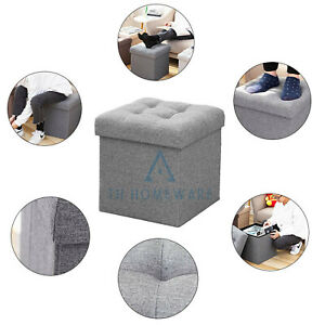 Grey Foldable Ottoman Toys Craft Storage Poufy Stool  Seat Footstool Small Box