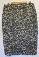 SPORTSCRAFT ~ Grey Stylised Leopard Print Stretch Cotton Pencil Skirt 12