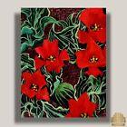 YARY DLUHOS ORIGINAL Art OIL PAINTING Flower Still Life Red Tulips Floral Garden