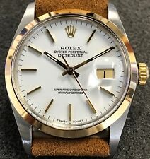 VINTAGE ROLEX DATEJUST 36MM 16003 18K YELLOW GOLD/STEEL WHITE DIAL W/BOX