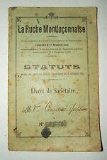 """LIVRET DE SOCIETAIRE """" LA RUCHE MONTLUCONNAISE """" 1924"""