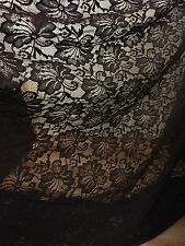 """1 MTR QUALITY NEW BLACK LACE NET SLIGHT STRETCH FABRIC...60"""" WIDE £2.49"""