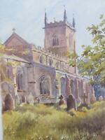1891 Church Croft Lincolnshire Monogrammed Watercolour Beautiful Light & Colour