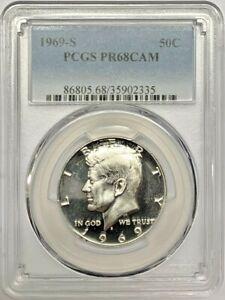 1969 S Proof Kennedy Half Dollar PCGS PR68 CAM Silver Registry Coin