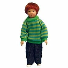 Dressed Child Doll With Green Hoop Jumper, Dolls House 1.12th Scale Miniature