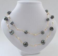 "P7418- 36"" 10-14mm natural black baroque Tahiti south sea water pearl necklace"