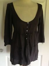 WHITE STUFF beautiful brown linen & cotton very fine knit cardigan UK 12