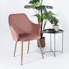 Rosa Samt Esszimmerstuhl Retro Stuhl mit Sessel Armlehnstuhl Schlafzimmerstuhl