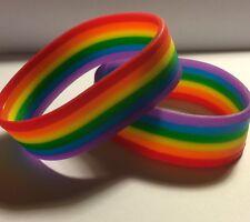 Gay Lesbian Trans Pride Rainbow Flag Silicone Wrist Band / Bracelet:  LGBT