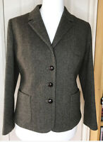 Jack Wills Brown Herringbone Tweed Blazer Jacket Wool Blend Size UK 14 Country