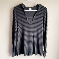 AG Adriano Goldschmied Gray Black Striped Ribbed Thermal Long Sleeve Top Large