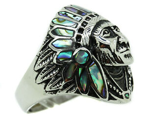 Mens Native American Indian Chief Face Ring Stainless Steel Heavy Crystal Tribal