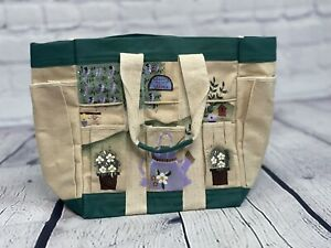 Hand Painted Garden Canvas Tote Tool Bag Kathy Hatch Collection 8 Pocket NWT