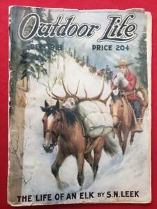 vtg Dec 1918 Outdoor Life magazine hunting fishing elk, bear, moose, trout, seal