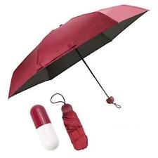 Mini Pocket Umbrella Anti UV Compact Fast Drying With Capsule Case Red Wine