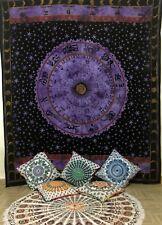 Purple Zodiac Horoscope Tapestry Queen Size Wall Hanging Astrology Backdrop Art