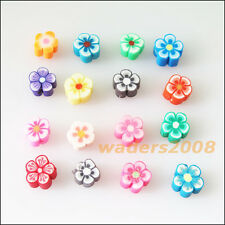 50 New Charms Handmade Polymer Fimo Clay Star Flower Flat Spacer Beads Mixed 6mm