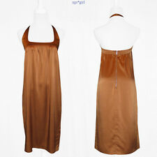 NWT $1050 RUNWAY Narciso Rodriguez MADE IN ITALY Halter Silk Metallic Dress 6 42