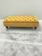 Large Ottoman Chesterfield Footstool In Gold/ MustardVelvet