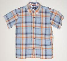GAP Kids Size XS (4-5) Boys Blue Plaid Button Up Short Sleeve Shirt