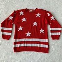 Vintage Allison Smith Red and White Star Stripe Patriotic Sweater M