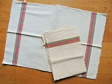 Antique 2 French tea Towels Linen Metis VINTAGE colorful stripe Country kitchen