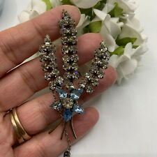 VINTAGE JEWELLERY AQUAMARINE & CLEAR RHINESTONE SILVER TONE FLOWER SPRAY BROOCH