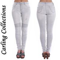 Ladies Women Slim Fit Stretch Ripped Skinny Biker Denim Pants Jeans 6 8 10 12 14