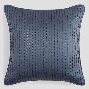 """$140 Hudson Park Windsor Bead & Sequin Blue 16"""" Square Decorative Pillow"""
