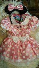 DISNEY MINNIE DRESS PINK POLKA DOT PLAY DRESS-UP COSTUME MINNIE EARS  2-4T EUC