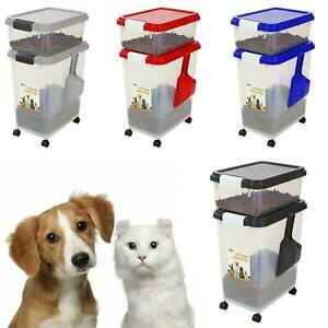 3 PIECE AIRTIGHT LARGE STORAGE CONTAINERS FEED PET DOG CAT ANIMAL PLASTIC FOOD