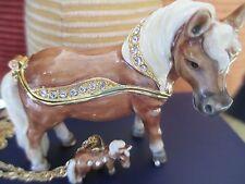 """MINIATURE HORSE """" THUMBELINA """"  ENAMELED JEWEL BOX & NECKLACE #62652"""