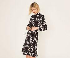 OASIS DRESS BLACK 1940s Tea Dress Butterfly MAGNOLIA Fit & Flare Shirt  Sz 8 NEW