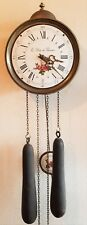 Comtoise Clock Dutch Vintage 8 Day Bell Strike Weight Driven Enamel Dial Pendulu