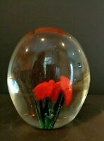 Vintage Red Rose Blossom Flower Art Glass Paperweight C.A.C. Label in Tact