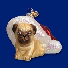 """Holiday Pug Puppy"" (12431) Old World Christmas Glass Ornament"