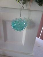 Acrylic Blue Iridescent Blow Fish Nautical Christmas Ornament, New