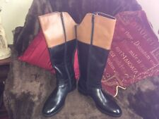Redfoot Ladies Leather Black + Tan Elasticated Riding Zip Boots UK 7 new no box