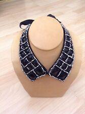 Anthropologie TASHA Bib Necklace $98 Black Silver Beaded Ribbon Peter Pan Collar