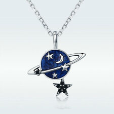 Fashion 925 Sterling Silver Planet Earth Dangle Star Ball Pendant Necklace Chain