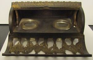 Antique Bradley & Hubbard Double Inkwell, Original Glass Inserts, Rolling Lid