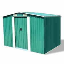 vidaXL Garden Storage Tool Shed Workshop Shelter 2.57x2.05m Steel w/ Roof Green