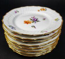 Royal Copenhagen Saxon Flower Bread Plate Plates ~ Pristine ~ Set of 8